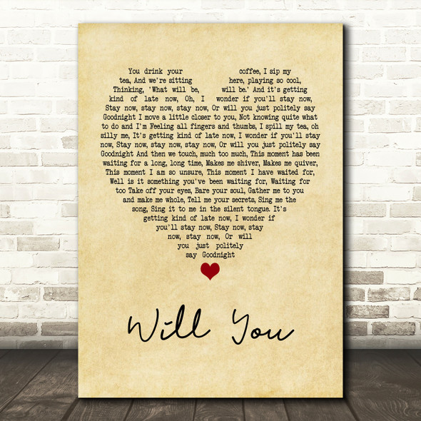Hazel O'Connor Will You Vintage Heart Quote Song Lyric Print