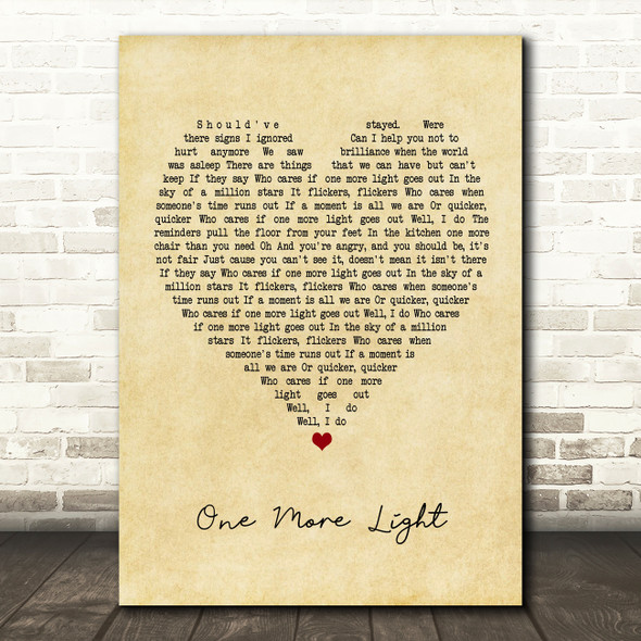 Linkin Park One More Light Vintage Heart Quote Song Lyric Print