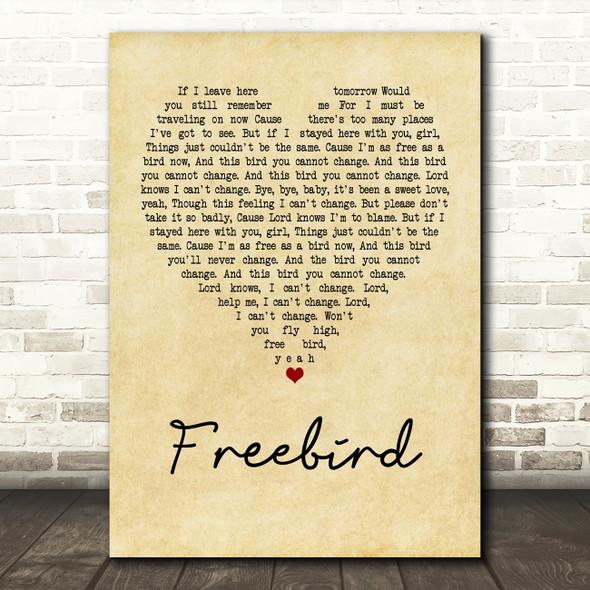 Lynyrd Skynyrd Freebird Vintage Heart Quote Song Lyric Print