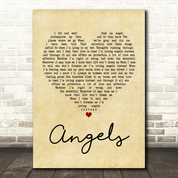 Robbie Williams Angels Vintage Heart Quote Song Lyric Print