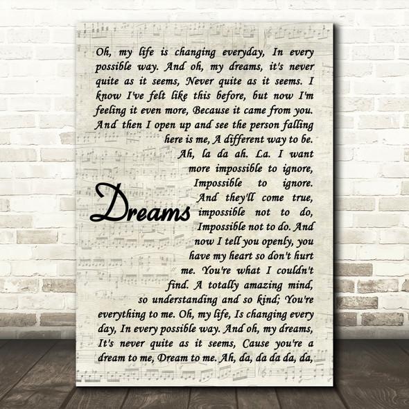 The Cranberries Dreams Song Lyric Vintage Script Print