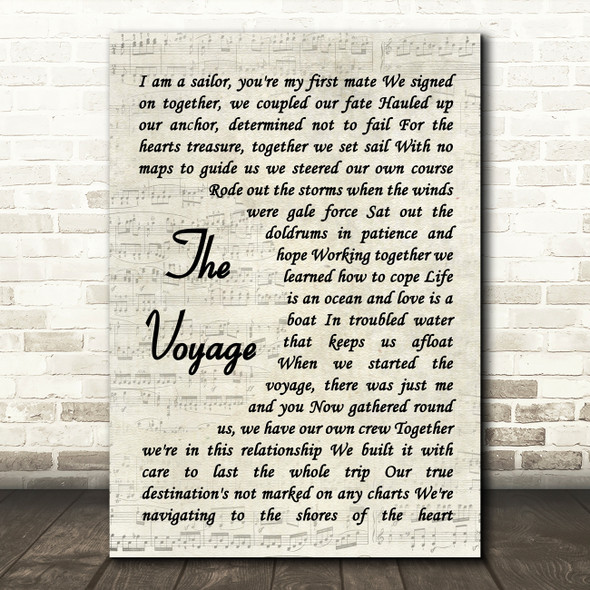 Christy Moore The Voyage Song Lyric Vintage Script Quote Print