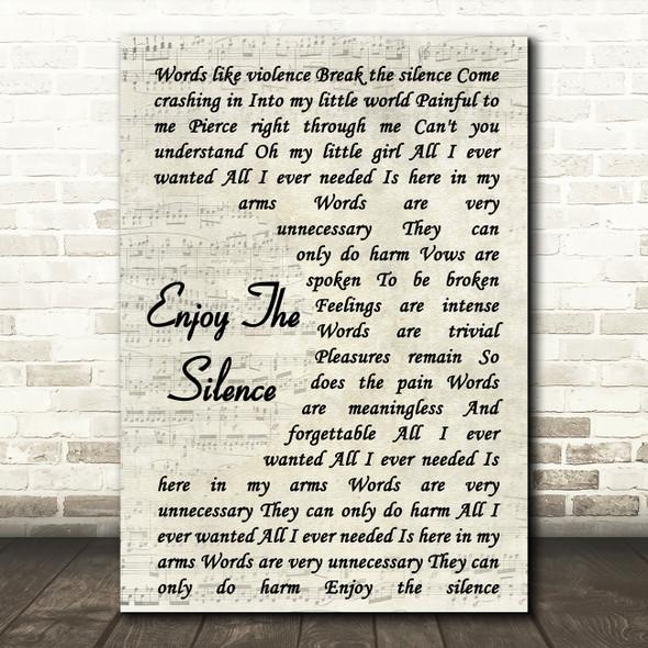 Depeche Mode Enjoy The Silence Song Lyric Vintage Script Quote Print
