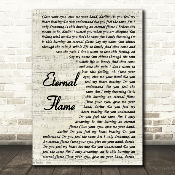 The Bangles Eternal Flame Song Lyric Vintage Script Quote Print