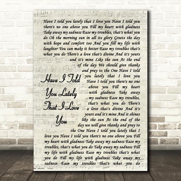 Van Morrison Have I Told You Lately That I Love You Song Vintage Script Print