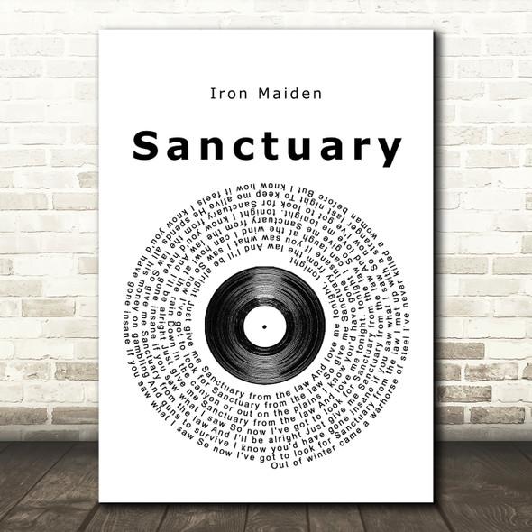 Iron Maiden Sanctuary Vinyl Record Song Lyric Quote Print