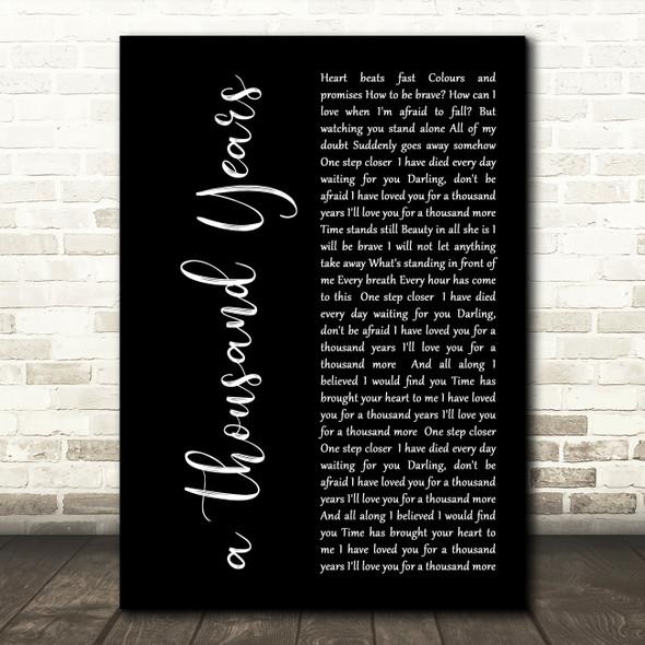 Christina Perri A Thousand Years Black Script Song Lyric Quote Print