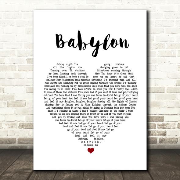 David Gray Babylon Heart Song Lyric Quote Print