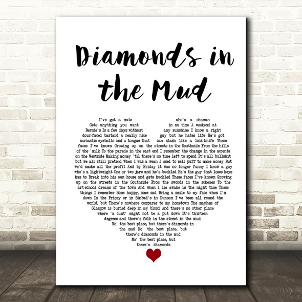 Gerry Cinnamon Diamonds in the Mud Heart Song Lyric Quote Print