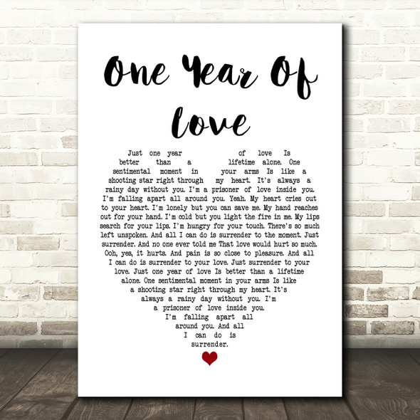 Queen One Year Of Love Heart Song Lyric Quote Print