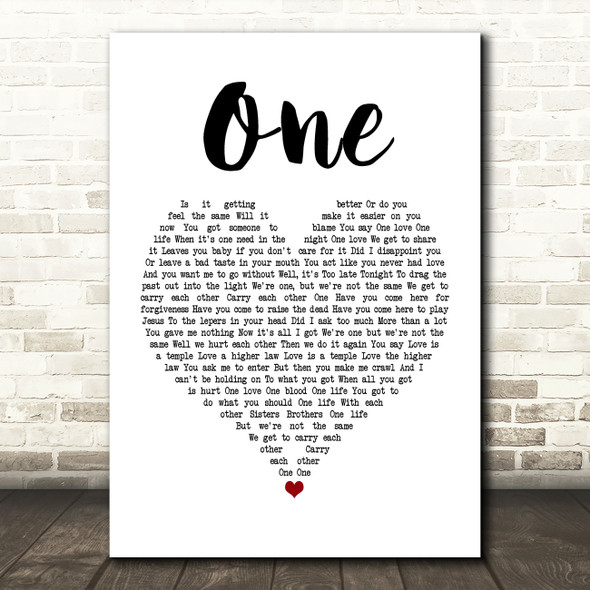 U2 One Heart Song Lyric Quote Print