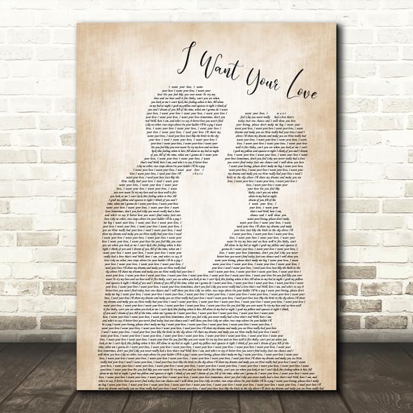 CHIC I Want Your Love Man Lady Bride Groom Wedding Song Lyric Framed Print
