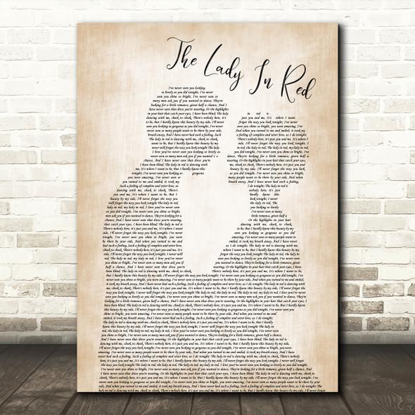 Chris De Burgh The Lady In Red Man Lady Bride Groom Wedding Song Lyric Framed Print