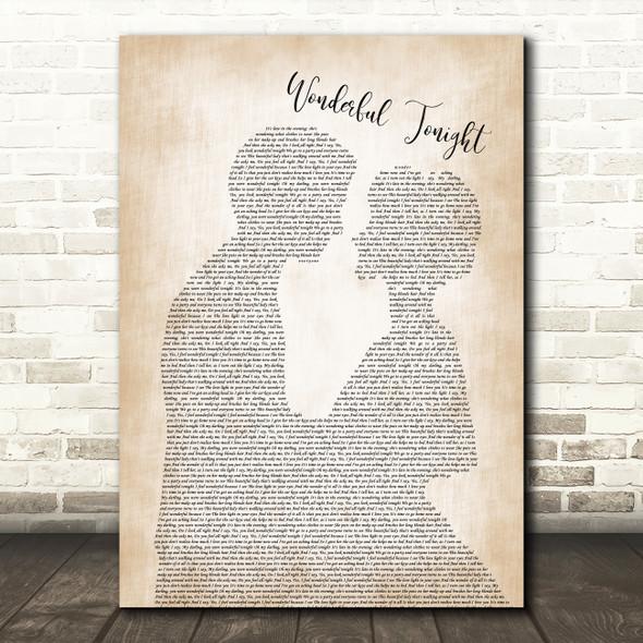 Eric Clapton Wonderful Tonight Man Lady Bride Groom Wedding Song Lyric Framed Print