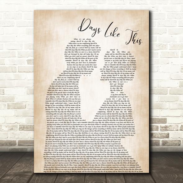 Van Morrison Days Like This Man Lady Bride Groom Wedding Song Lyric Framed Print
