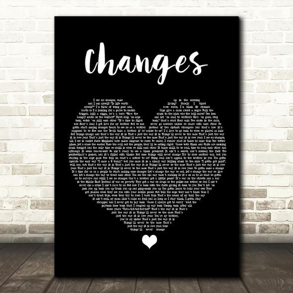 2Pac Changes Black Heart Song Lyric Framed Print