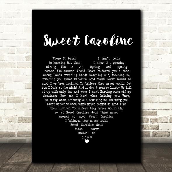 Neil Diamond Sweet Caroline Black Heart Song Lyric Framed Print