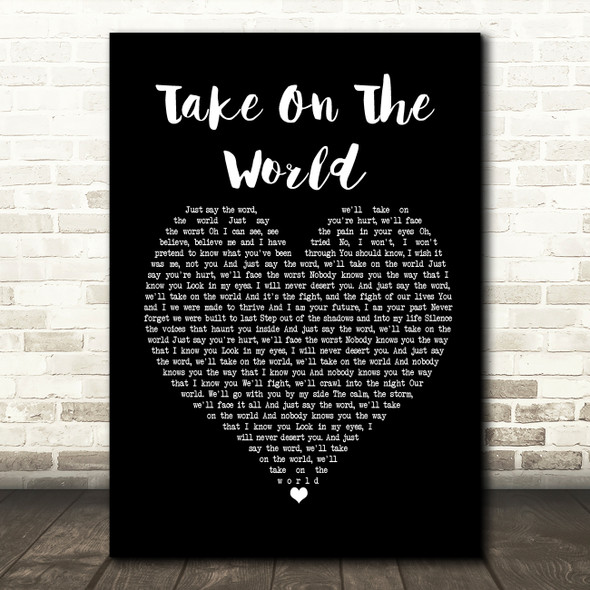 You Me At Six Take On The World Black Heart Song Lyric Framed Print