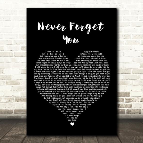Zara Larsson Never Forget You Black Heart Song Lyric Framed Print