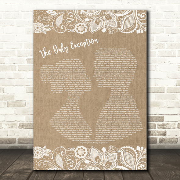 Paramore The Only Exception Burlap & Lace Song Lyric Framed Print
