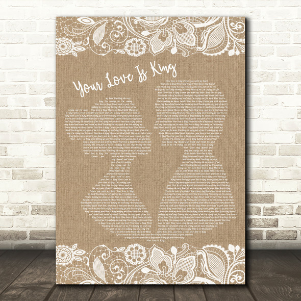 Sade Your Love Is King Burlap & Lace Song Lyric Framed Print