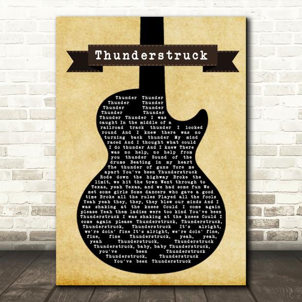 ACDC Thunderstruck Black Guitar Song Lyric Framed Print
