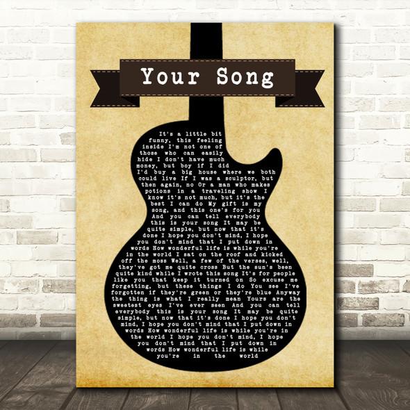 Elton John Your Song Black Guitar Song Lyric Framed Print