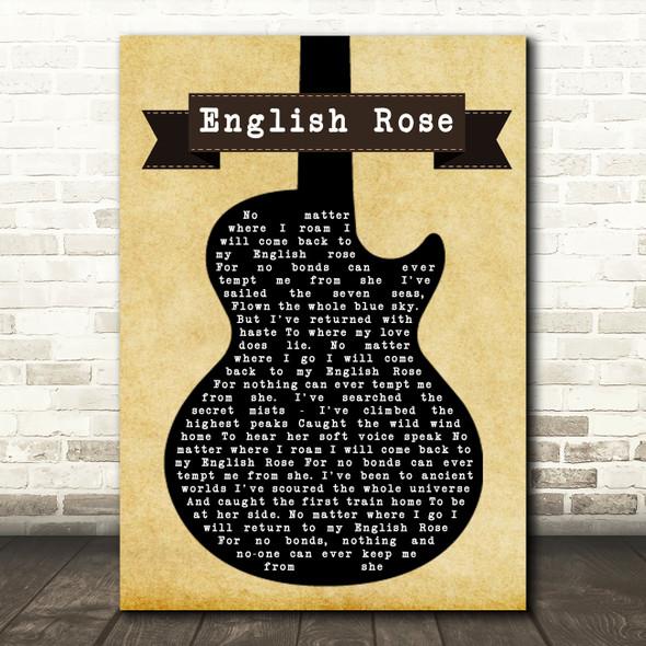 Paul Weller English Rose Black Guitar Song Framed Print