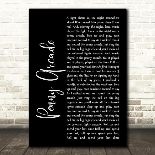 Roy Orbison Penny Arcade Black Script Song Lyric Framed Print