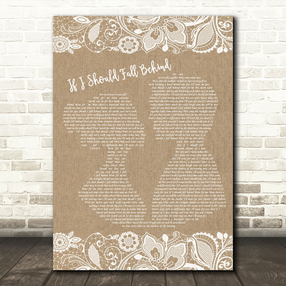 Bruce Springsteen If I Should Fall Behind Burlap & Lace Song Lyric Quote Print