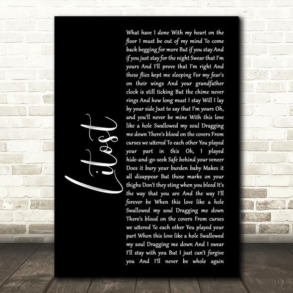 X Ambassadors Litost Black Script Song Lyric Framed Print
