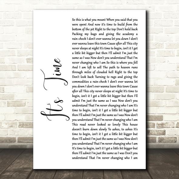 Imagine Dragons It's Time White Script Song Lyric Framed Print