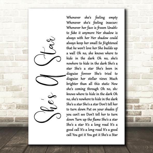 James She's A Star White Script Song Lyric Framed Print
