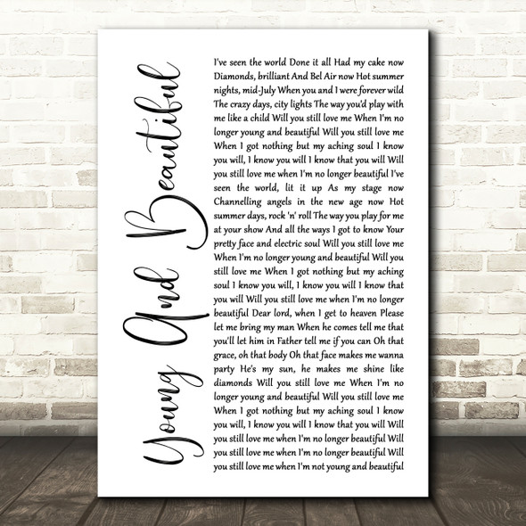 Lana Del Rey Young And Beautiful White Script Song Lyric Framed Print