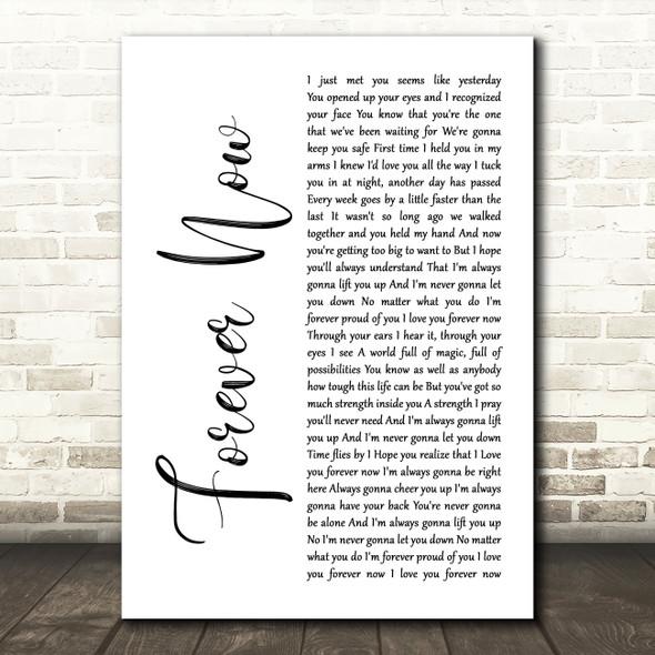Michael Buble Forever Now White Script Song Lyric Framed Print