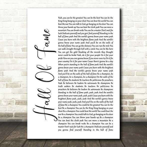 The Script Hall Of Fame White Script Song Lyric Framed Print