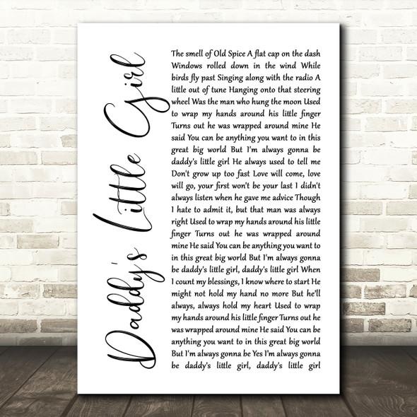 The Shires Daddy's Little Girl White Script Song Lyric Framed Print