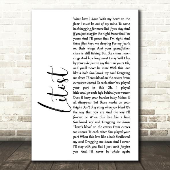 X Ambassadors Litost White Script Song Lyric Framed Print