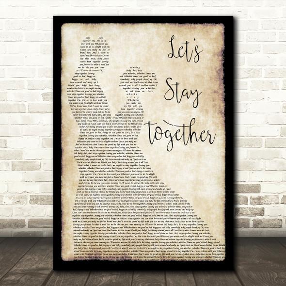Al Green Let's Stay Together Man Lady Dancing Song Lyric Framed Print