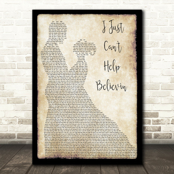 Elvis Presley I Just Can't Help Believin Man Lady Dancing Song Lyric Framed Print