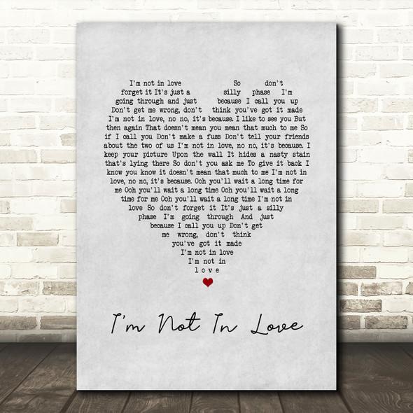 10cc I'm Not In Love Grey Heart Song Lyric Framed Print