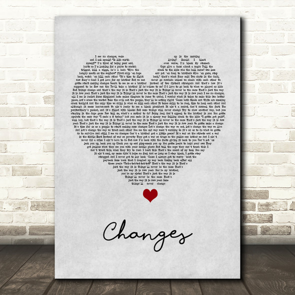 2Pac Changes Grey Heart Song Lyric Framed Print