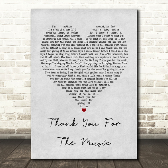 ABBA Thank You For The Music Grey Heart Song Lyric Framed Print