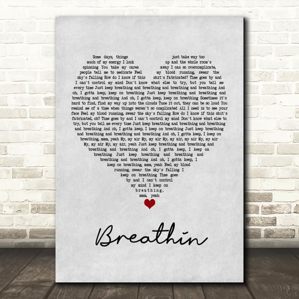 Ariana Grande Breathin Grey Heart Song Lyric Framed Print