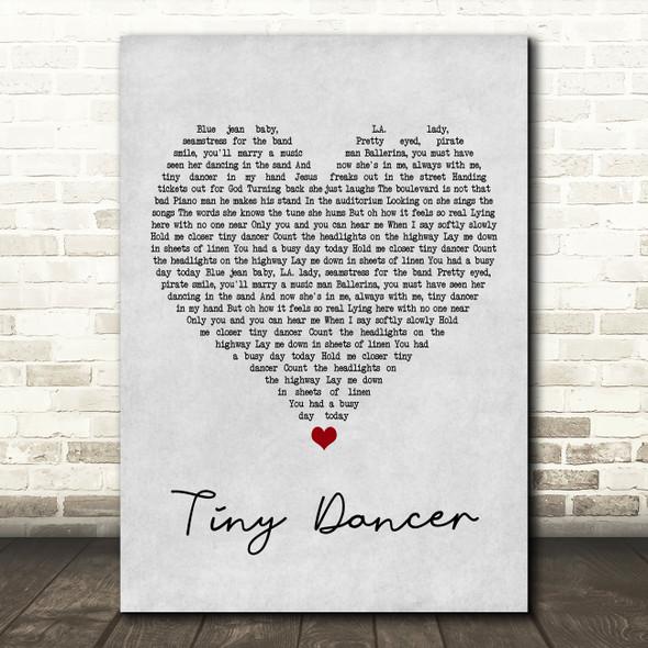 Elton John Tiny Dancer Grey Heart Song Lyric Framed Print