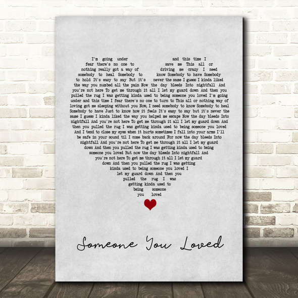 Lewis Capaldi Someone You Loved Grey Heart Song Lyric Framed Print