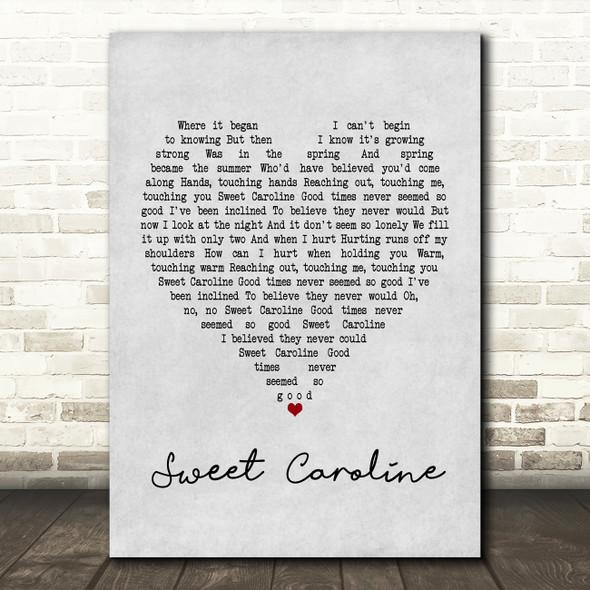 Neil Diamond Sweet Caroline Grey Heart Song Lyric Framed Print