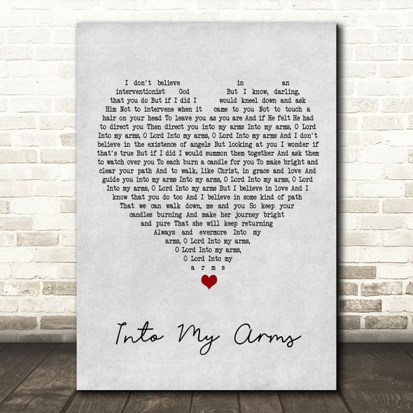Nick Cave & The Bad Seeds Into My Arms Grey Heart Song Lyric Framed Print