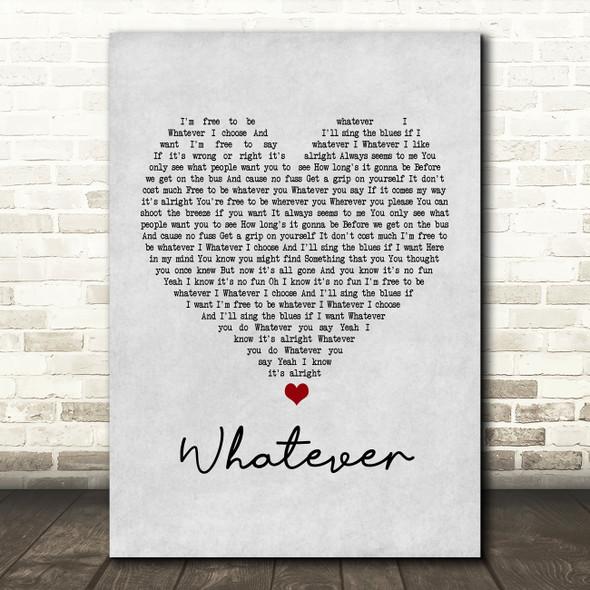 Oasis Whatever Grey Heart Song Lyric Framed Print