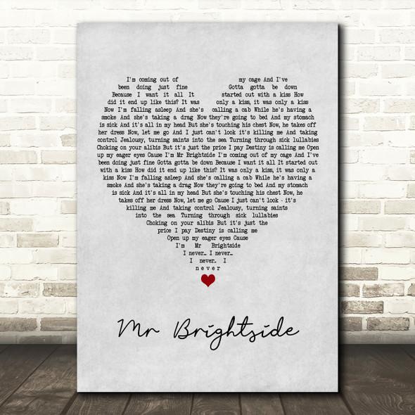 The Killers Mr Brightside Grey Heart Song Lyric Framed Print